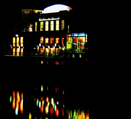 City Screen Picturehouse at night across the River Ouse