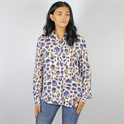 Marc Aurel Animal Print Shirt Blue Tan