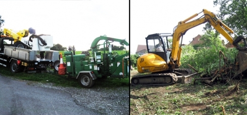 Brush Bandit 150xp wood chipper & JCB used for site clearance