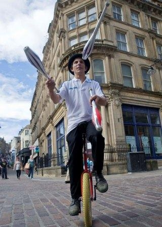 Unicyclist Jugglers available for hire