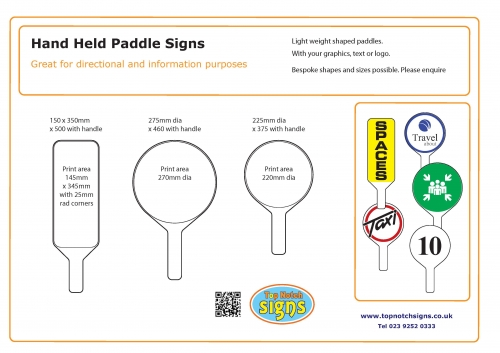 Hand held placard and paddle signs