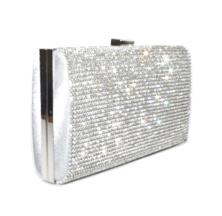 Second Tread Footwear Clutch Diamond And Silver Bag