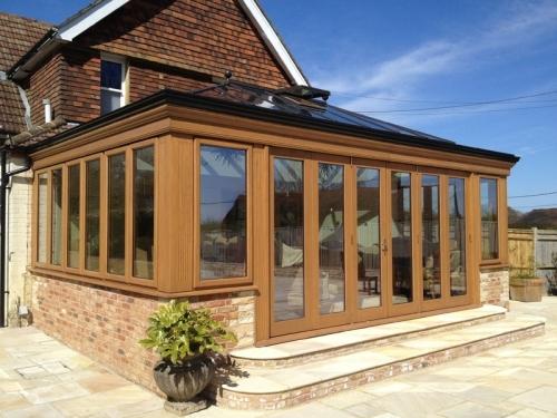 Oak Orangery with bi-fold doors in East Sussex