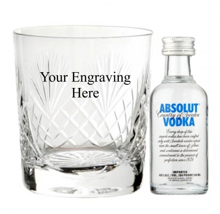 Personalised Engraved Crystal Cut Glass with Absolut Miniature Vodka