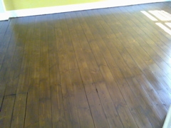 Floorboards sanded, stained and varnished