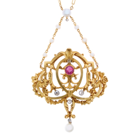 Antique French Ruby, Diamond and Pearl Pendant