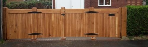 Flat Top Bifold Wooden Gates - European Oak - Sloped Bottom