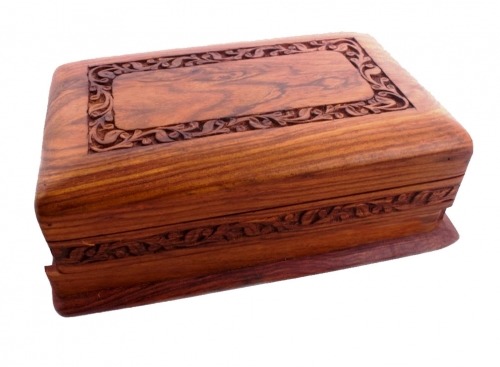 Wooden Jewellery / Trinket Box with Carved Lid & Secret Lock