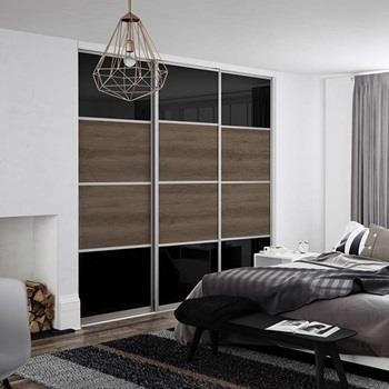 Beijing 4 Panel Equal Split with Black Glass and Brown Cassino Ash Melamine Panels with Silver Aluminium Tracks and Framework