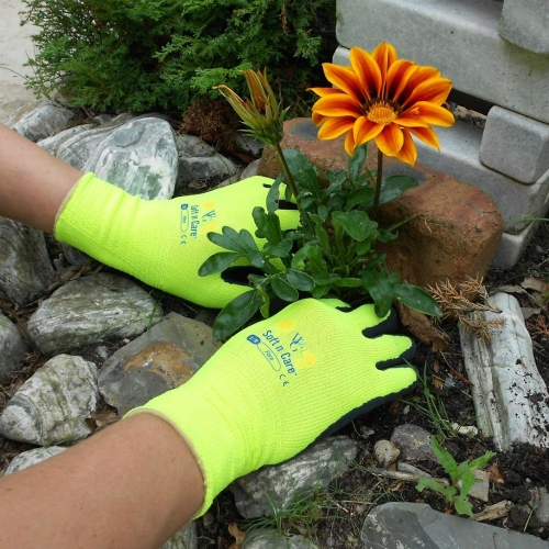 Soft n Care Flora Yellow Gloves