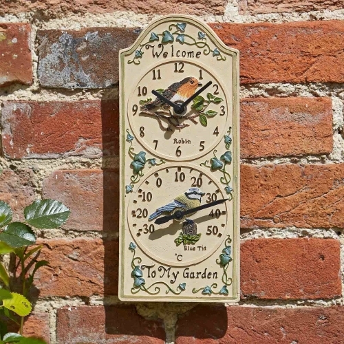 Bird Wall Clock & Thermometer - £17.99