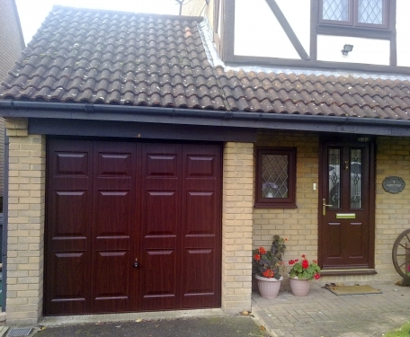 Hormann Georgian decograin rosewood canopy Garage Door