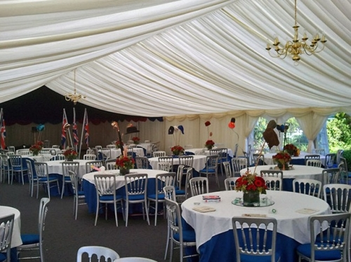 Marquee set up for a party in Surrey