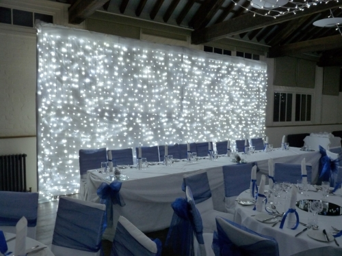 Starlight LED White Head Table Back Drop Curtain