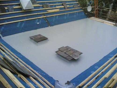 Flat roofing in Newport, slates ready to be installed.