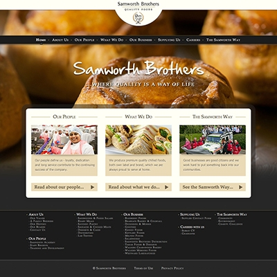 Samworth Brothers, Leicester - website design, build and content management system (CMS)