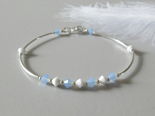 Blue White Crystals Silver Bracelet With Swarovski Crystals