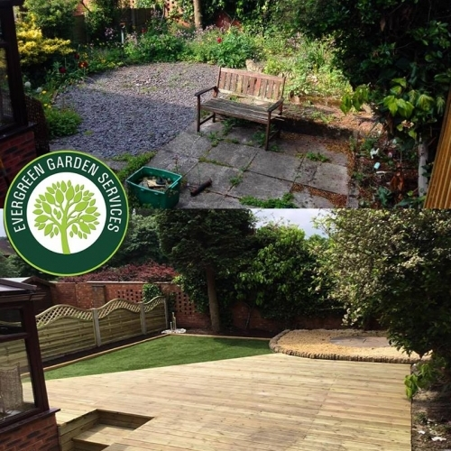Artificial grass and decking before and after pictures in Stoke-on-Trent