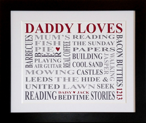Personalised 'Daddy Loves' Print