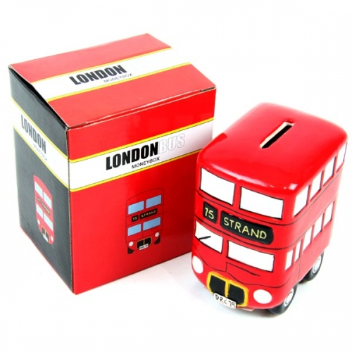 Red London bus moneybox