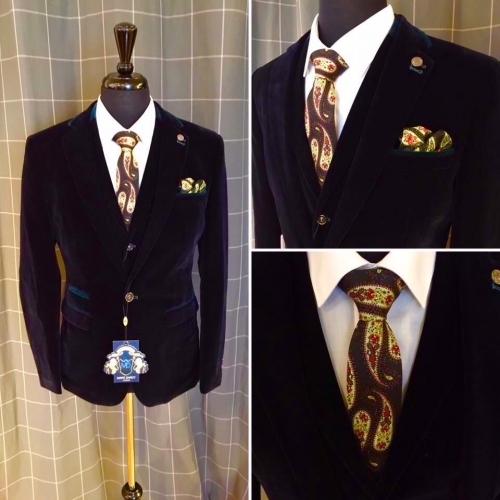 Exclusive to TDR Menswear - Navy Velvet Jackets and Waistcoats