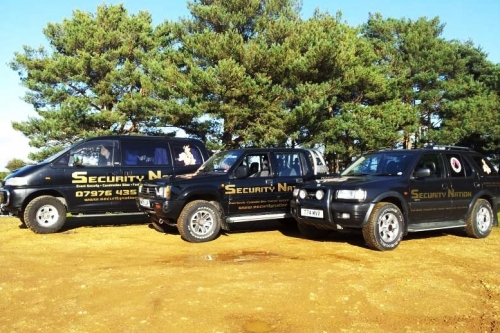 Some of Security Nation's response trucks.