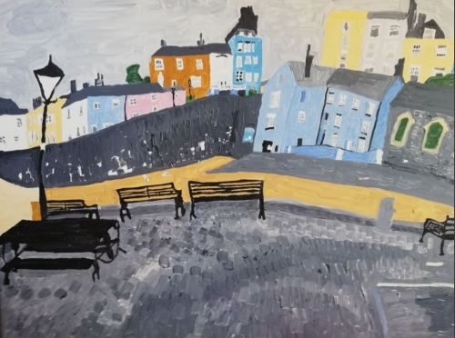 Tenby harbour on a grey day. Acrylic on canvas 61cm x 76 cm 250