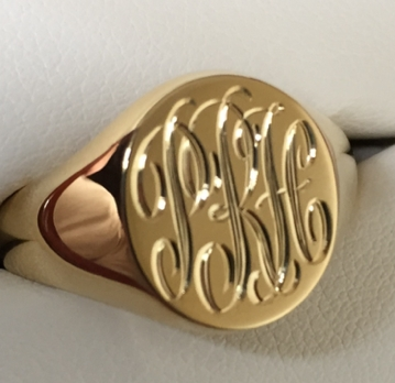 signet ring with hand engraved monogram PRH